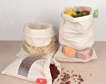 Set of 8 Eco-Friendly Cotton Reusable produce bags. Mesh, muslin bags with see through window for bulk food storage & Bag for leafy greens.