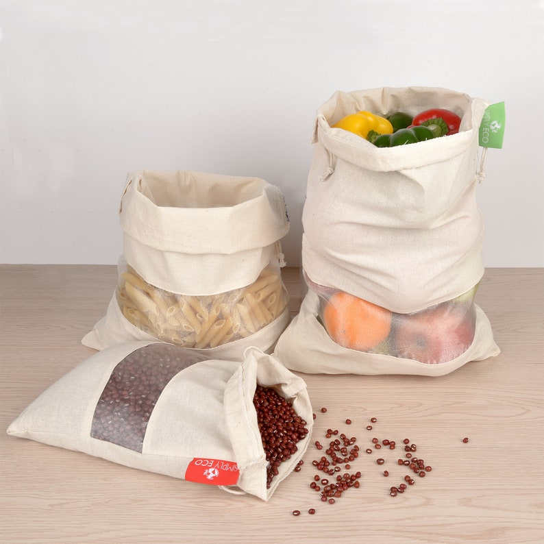 Set of 8 Cotton Reusable produce bags. Mesh muslin bags with image 0