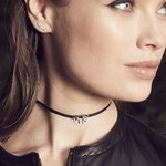 Delicate 14K White Gold Leaf and Leather Choker