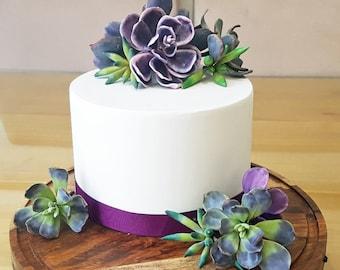Echeveria Gum Paste Succulent - purple green fondant succulent cake topper, wedding cake topper, Echeveria, Stonecrop, Swartkop succulents