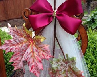 Set Of 6 Autumn Wedding Decor, Fall Pew Bows, Leaves Bows, Church Aisle Decorations,