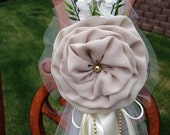 SET OF 6 Beige Ivory Gold Pew Bows, Chair Bows, Wedding Bows Pew Church Aisle Decorations