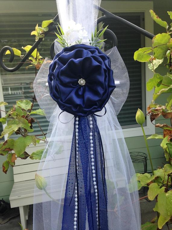Set Of 6 Navy Blue Pew Bows Chair Bows Wedding Bows Pew Church Etsy