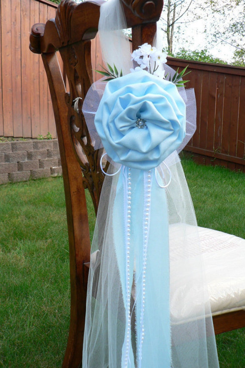 Surprising Set Of 6 Sky Blue Beach Pew Bows Chair Bows Wedding Bows Pew Church Aisle Decorations Interior Design Ideas Clesiryabchikinfo