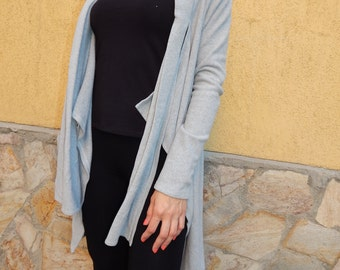 Charcoal Gray Loose Asymmetrical Cardigan