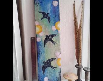 Swallows painting, Original painting, swallows art, mixed media, reclaimed wood art ,bird art, fantasy art, bird painting, mystical art
