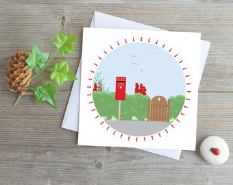 UK red post box greeting card vintage post box England red mail box post box country scene card snail mail stay in touch village post box