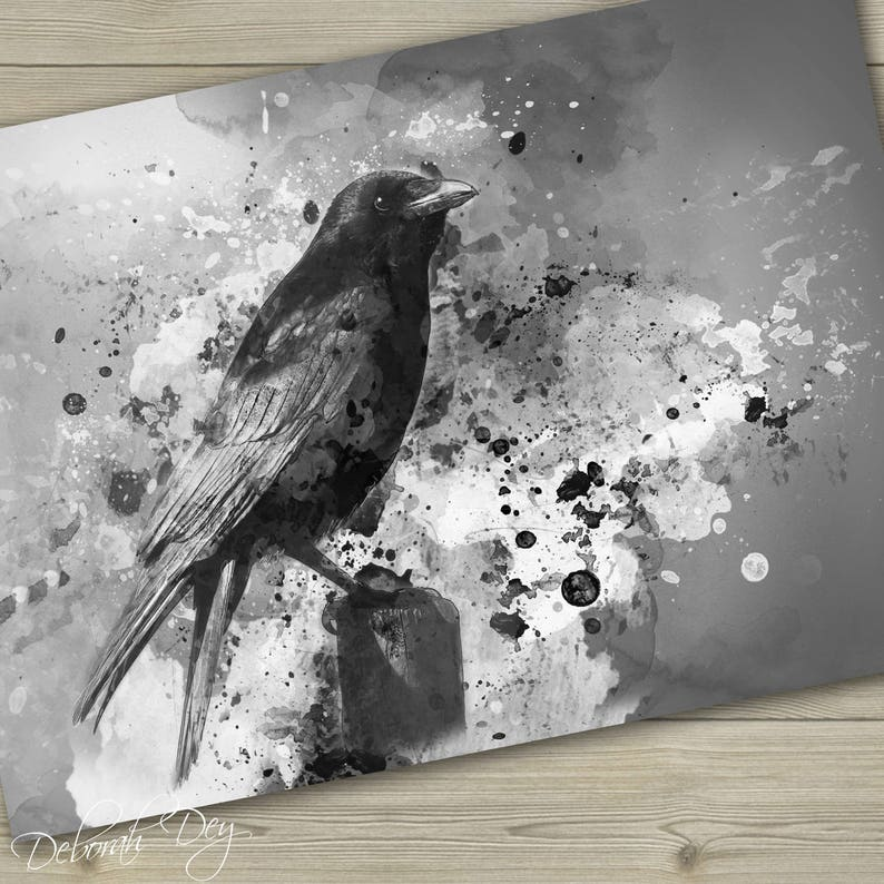 Crow art Crow giclee art print Gothic crow digital art gothic image 0