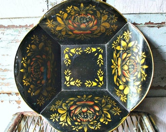 Stenciled Tin Bread Tray-Black & Gold-Toleware