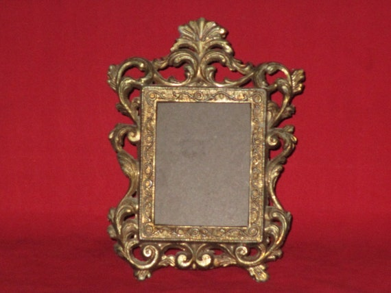 Small Framevintage Brass Cast Metal Picture Frameornate Etsy