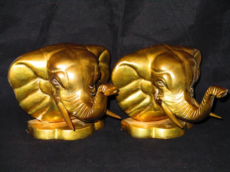 Brass Elephant Bookends/Vintage Brass Elephant Head Bookends/Good Luck  Elephant/Trunk Up Elephant/Gold Brass Elephant/Vintage Home Decor