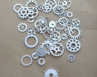 50 great silver steampunk clockwork gears set watch gears mechanism