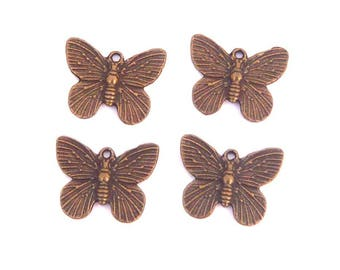 lot 4 vintage 18mm Butterfly charm bronze
