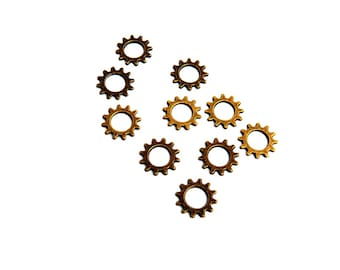 LOT 10 gear COG charm bronze10mm steampunk watch