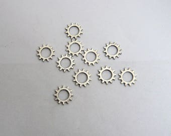 LOT 10 gear COG charm argent10mm steampunk watch