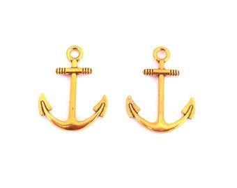 LOT 2 charm pendant anchor Navy gold 30x25mm