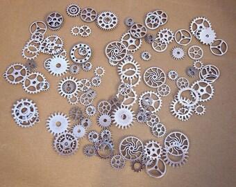 100 large silver steampunk clockwork gears set watch gears mechanism