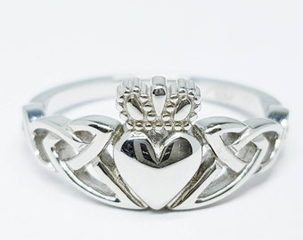 Sterling Silver Claddagh ring, Celtic Knot Claddagh Ring