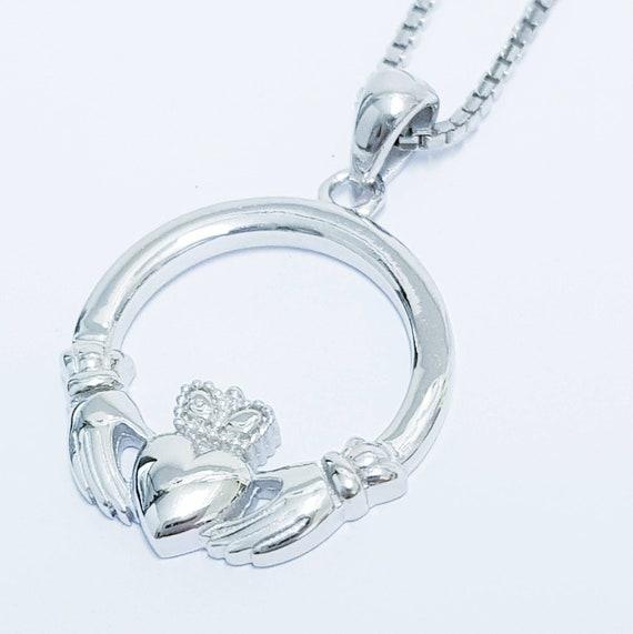 Love Loyalty Friendship Claddagh Heart Locket Necklace 925 Sterling Silver