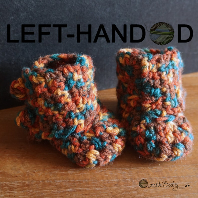 Left Handed Crochet Pattern For Baby Booties Wrap Around Etsy
