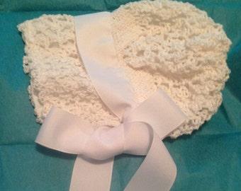 Vintage Style Baby Bonnet, Crocheted Baby Bonnet, Early 1900's Baby Bonnet