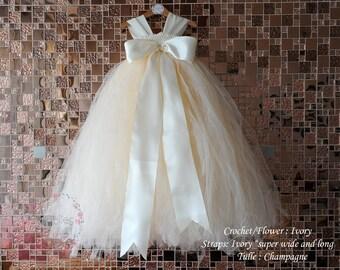 05844fd5f698 Flower Girl Dress,flower girl tulle dress,tutu dress,Girl Dress,Birthday,Big  Bow dress,Ivory Champagne, more Color for customize
