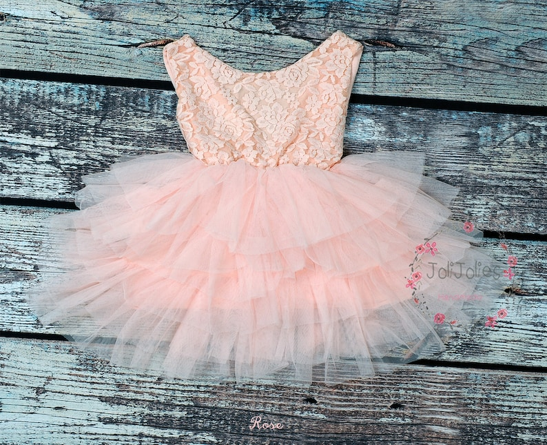 b44290f7d Pink lace tutu flower girl dress: Pink lace top V-back silky | Etsy
