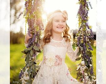girls dress dress, Lace girls dress, bohemian maxi dress, white boho dress, junior bridesmaid, toddler dress, long sleeve flower girl dress