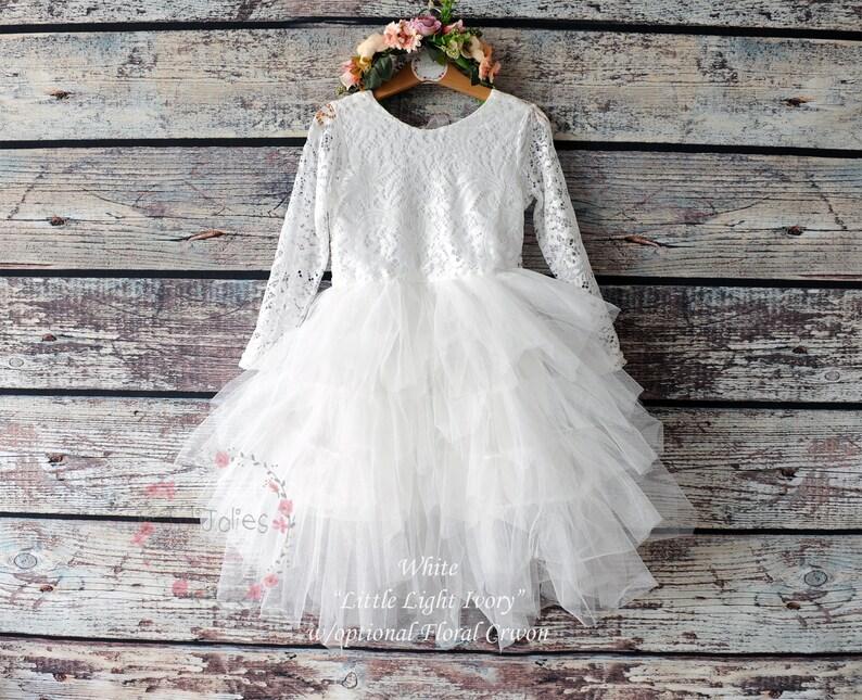 5c23903d5b Lace Flower Girl Dress Long Sleeve Wedding Dress Blush