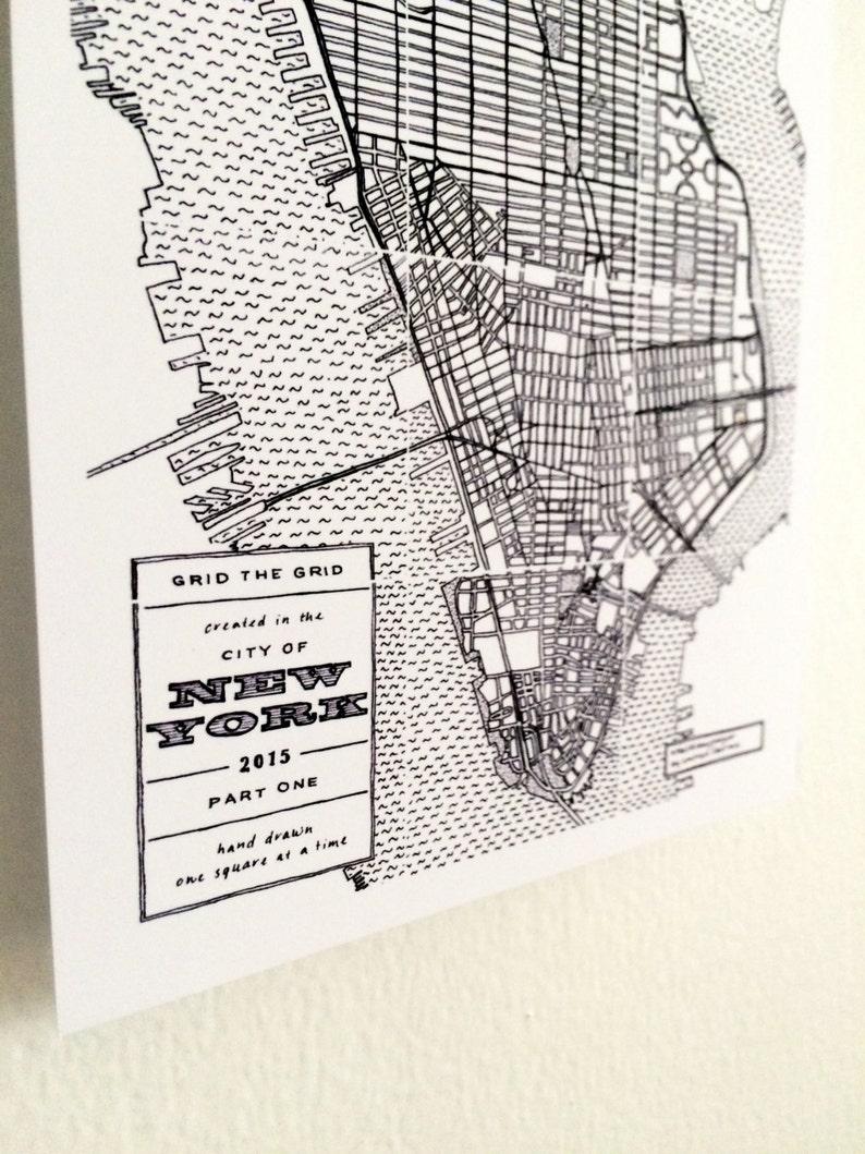 Black And White New York City Hand Drawn Map Manhattan Nyc Etsy