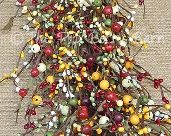 Wreath Making Supplies Colorful Peach Yellow Blue Spring Garland Berry Garland Mixed Berry Garland Pip Berry Garland