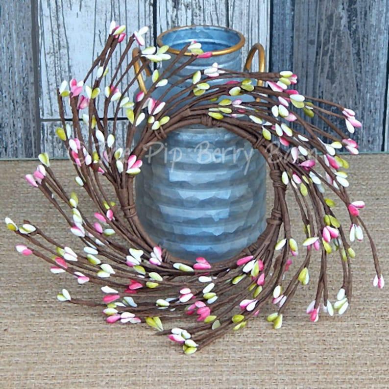Pink Green /& Cream Berry Ring Craft Supplies Spring Candle Ring Easter Candle Ring Spring Pip Berry