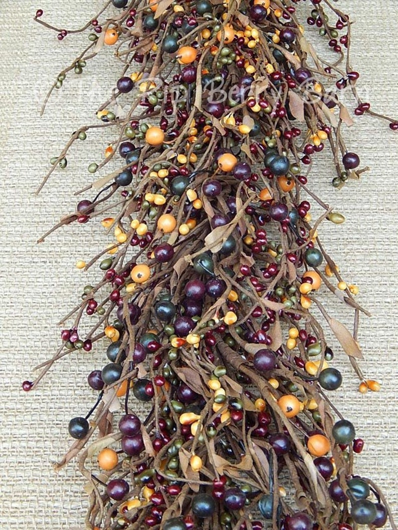 Country Farmhouse Mixed Berry Garland Country Garland Primitive Berry Garland Wreath Decor Primitive Berries Wreath Making