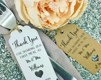 "First Meal Gift Tags Wedding Favour ""Thank you"" Guest Label Kraft/ Napkin Ring"