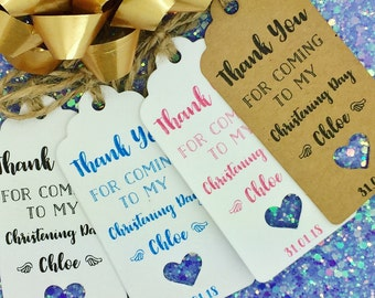 "Christening Day/ Baptism Gift Tags ""Thank You"" Label Kraft, Personalised"