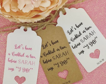 "Personalised Hen Do Party Gift Tags ""Thank you"" Label Kraft"
