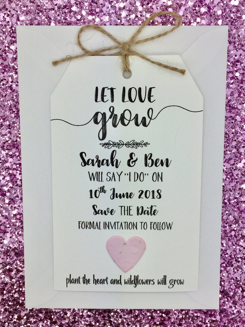 Plantable Seed Paper Confetti Save The Date Card Wedding Invitation