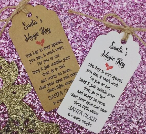 Santa Magie Schlüssel Gedicht Weihnachtskarte / Geschenk Tag | Etsy
