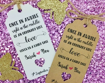 """Fairy Tale Wedding Favour Gift Tag """"Thank you"""" Guest Label, Personalised"""