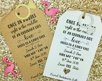 Rustic Save The Date Tag/ Card Wedding Invitation, Fairy Tail