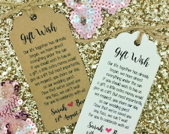 Wedding Money Gift Poem, Honeymoon, Wishing Well, Personalised