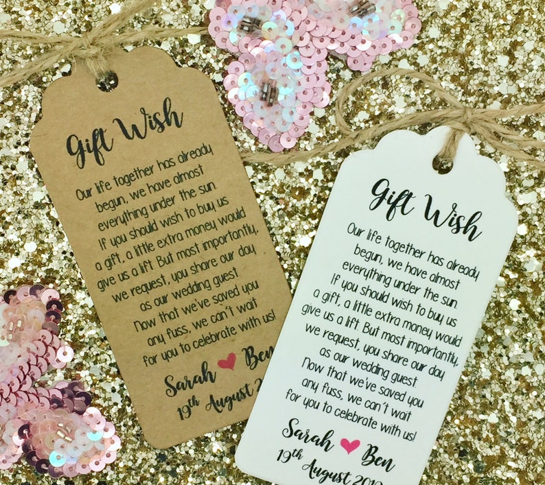 Wedding Money Gift Poem Honeymoon Wishing Well Personalised Etsy