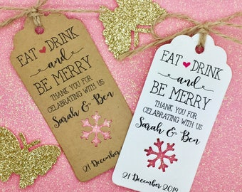 "Winter Wedding Favour Gift Tags ""Thank You"", Personalised, Snowflake"