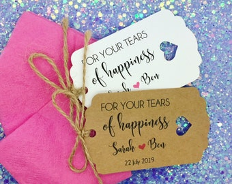 Tissues Wedding Favour Gift Tag, Happy Tears, Guest Label Kraft, Personalised