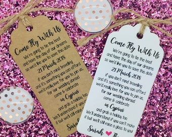 Come Fly With Us, Wedding Poem Card, Wedding Abroad, Destination Wedding