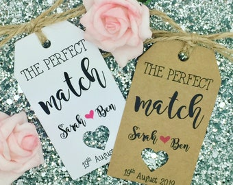 """Matches Favour, Wedding Favour Gift Tag """"the perfect match"""" Label Kraft"""