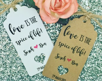 "Love is the Spice of Life Wedding Spice Favour Gift Tags ""Thank You"" Guest Label Kraft"