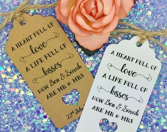 Wedding Favours Thank You Gift Tags, Guest Label Kraft, Kisses from New Mr & Mrs