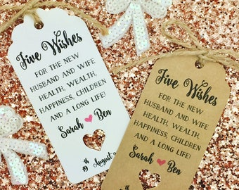 Jordan Almond Favor Tags, Dragees, Wedding Favors, Sugared Almond Tags, Five Wishes