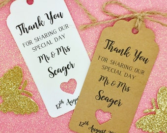 Wedding Favours Thank You Gift Tags, Guest Label Kraft